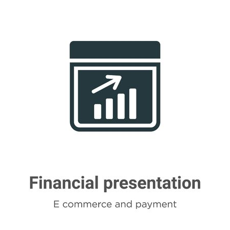 Financial presentation vector icon on white background. Flat vector financial presentation icon symbol sign from modern e commerce and payment collection for mobile concept and web apps design. Vettoriali