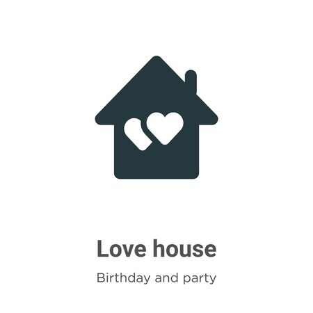 Love house vector icon on white background. Flat vector love house icon symbol sign from modern birthday and party collection for mobile concept and web apps design. Archivio Fotografico - 142529714