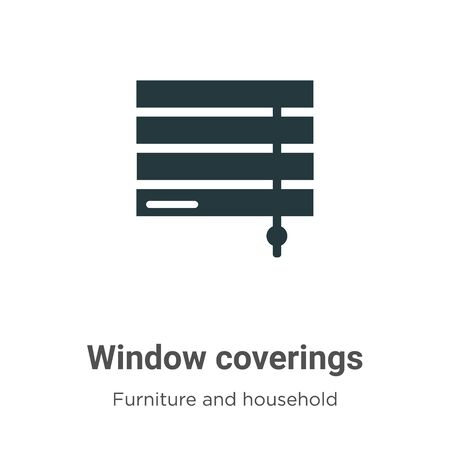 Window coverings vector icon on white background. Flat vector window coverings icon symbol sign from modern furniture and household collection for mobile concept and web apps design. Vettoriali