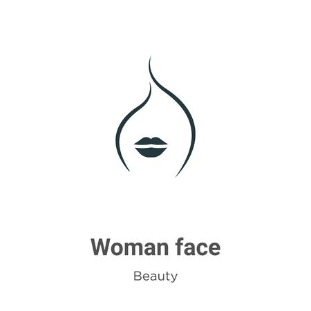 Woman face vector icon on white background. Flat vector woman face icon symbol sign from modern beauty collection for mobile concept and web apps design.