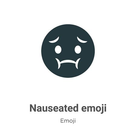 Nauseated emoji vector icon on white background. Flat vector nauseated emoji icon symbol sign from modern emoji collection for mobile concept and web apps design. Vettoriali