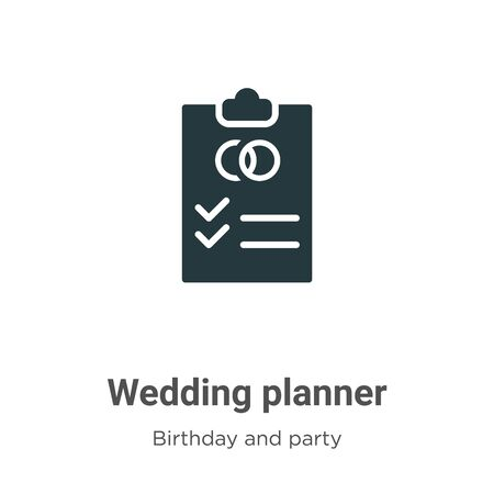 Wedding planner vector icon on white background. Flat vector wedding planner icon symbol sign from modern birthday and party collection for mobile concept and web apps design.