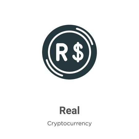 Real vector icon on white background. Flat vector real icon symbol sign from modern cryptocurrency collection for mobile concept and web apps design. Archivio Fotografico - 142529766