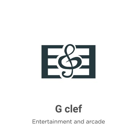 G clef vector icon on white background. Flat vector g clef icon symbol sign from modern entertainment and arcade collection for mobile concept and web apps design. Archivio Fotografico - 142529770