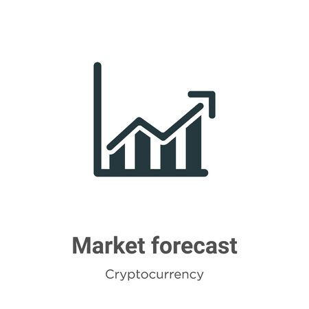 Market forecast vector icon on white background. Flat vector market forecast icon symbol sign from modern cryptocurrency collection for mobile concept and web apps design. Vettoriali