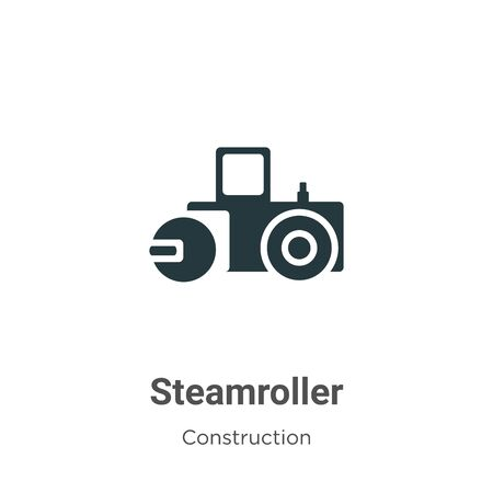 Steamroller vector icon on white background. Flat vector steamroller icon symbol sign from modern construction collection for mobile concept and web apps design.