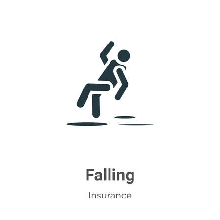 Falling vector icon on white background. Flat vector falling icon symbol sign from modern insurance collection for mobile concept and web apps design.