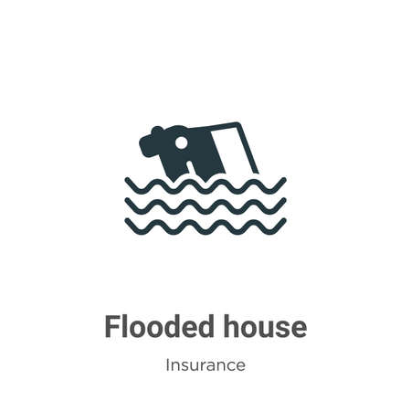 Flooded house vector icon on white background. Flat vector flooded house icon symbol sign from modern insurance collection for mobile concept and web apps design.