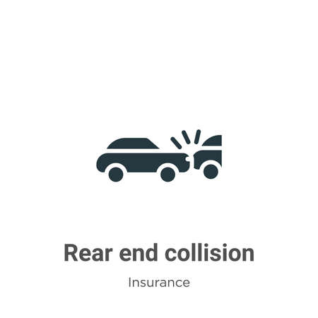 Rear end collision vector icon on white background. Flat vector rear end collision icon symbol sign from modern insurance collection for mobile concept and web apps design.
