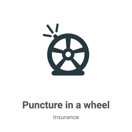 Puncture in a wheel vector icon on white background. Flat vector puncture in a wheel icon symbol sign from modern insurance collection for mobile concept and web apps design.