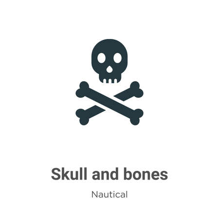 Skull and bones vector icon on white background. Flat vector skull and bones icon symbol sign from modern nautical collection for mobile concept and web apps design.