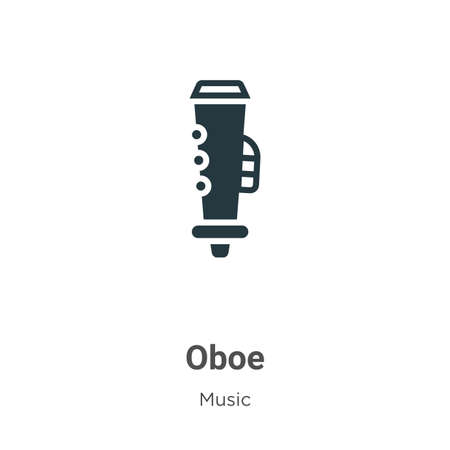 Oboe vector icon on white background. Flat vector oboe icon symbol sign from modern music collection for mobile concept and web apps design. Vettoriali