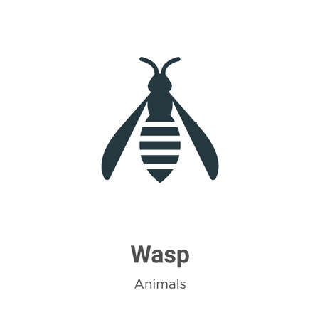 Wasp vector icon on white background. Flat vector wasp icon symbol sign from modern animals collection for mobile concept and web apps design. Ilustracja