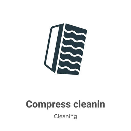 Compress cleaning vector icon on white background. Flat vector compress cleaning icon symbol sign from modern cleaning collection for mobile concept and web apps design.  イラスト・ベクター素材