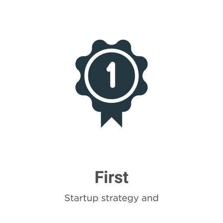 First vector icon on white background. Flat vector first icon symbol sign from modern startup strategy and success collection for mobile concept and web apps design.