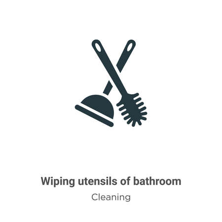 Wiping utensils of bathroom vector icon on white background. Flat vector wiping utensils of bathroom icon symbol sign from modern cleaning collection for mobile concept and web apps design.