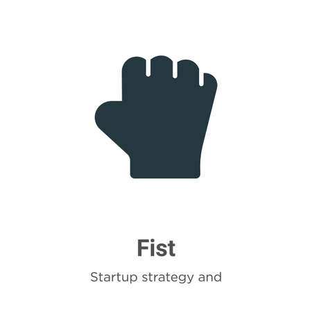 Fist vector icon on white background. Flat vector fist icon symbol sign from modern startup strategy and success collection for mobile concept and web apps design.