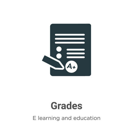 Grades vector icon on white background. Flat vector grades icon symbol sign from modern e learning and education collection for mobile concept and web apps design.