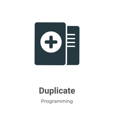 Duplicate vector icon on white background. Flat vector duplicate icon symbol sign from modern programming collection for mobile concept and web apps design.