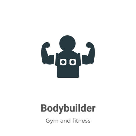 Bodybuilder vector icon on white background. Flat vector bodybuilder icon symbol sign from modern gym and fitness collection for mobile concept and web apps design. Illustration