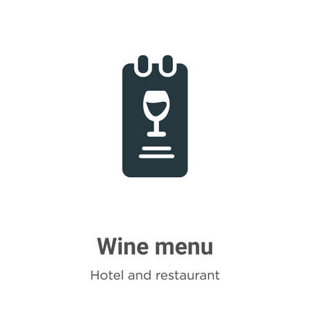 Wine menu vector icon on white background. Flat vector wine menu icon symbol sign from modern hotel and restaurant collection for mobile concept and web apps design.