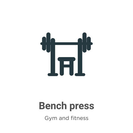 Bench press vector icon on white background. Flat vector bench press icon symbol sign from modern gym and fitness collection for mobile concept and web apps design.