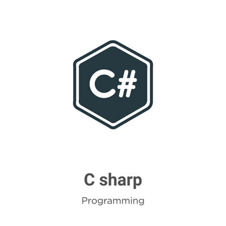 C sharp vector icon on white background. Flat vector c sharp icon symbol sign from modern programming collection for mobile concept and web apps design. Vector Illustratie