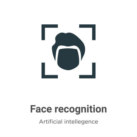 Face recognition vector icon on white background. Flat vector face recognition icon symbol sign from modern artificial intellegence and future technology collection for mobile concept and web apps