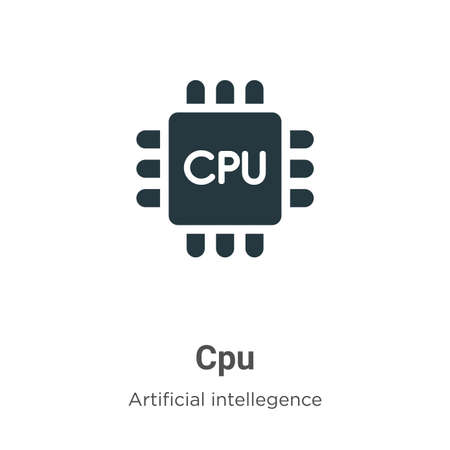 Cpu vector icon on white background. Flat vector cpu icon symbol sign from modern artificial intelligence collection for mobile concept and web apps design.