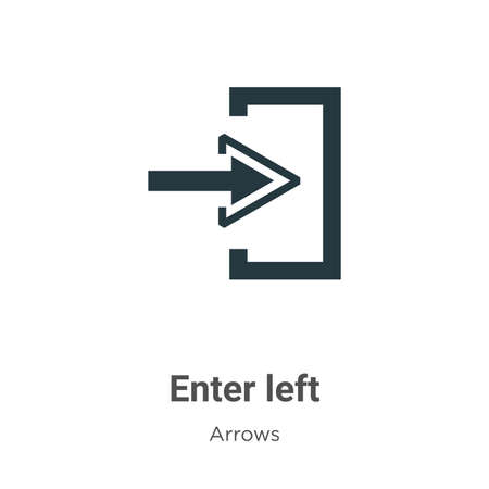 Enter left vector icon on white background. Flat vector enter left icon symbol sign from modern arrows collection for mobile concept and web apps design. Ilustração