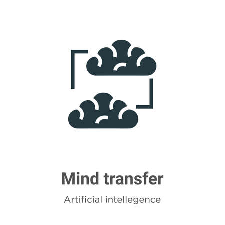 Mind transfer vector icon on white background. Flat vector mind transfer icon symbol sign from modern artificial intellegence and future technology collection for mobile concept and web apps design.