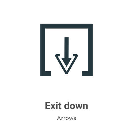 Exit down vector icon on white background. Flat vector exit down icon symbol sign from modern arrows collection for mobile concept and web apps design.