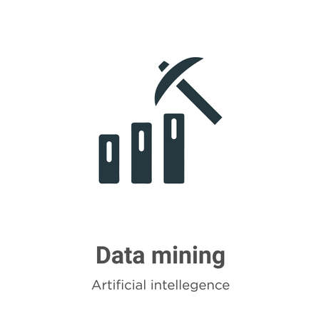 Data mining vector icon on white background. Flat vector data mining icon symbol sign from modern artificial intellegence and future technology collection for mobile concept and web apps design.