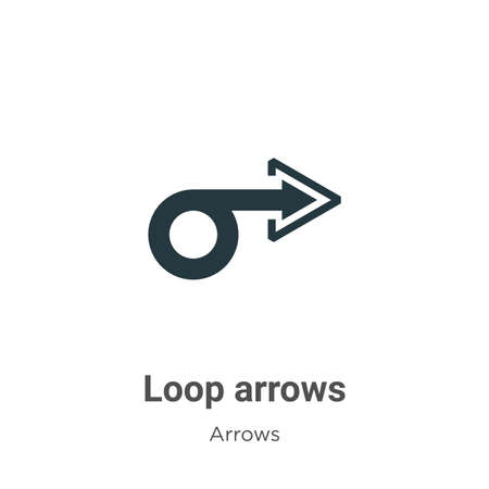 Loop arrows vector icon on white background. Flat vector loop arrows icon symbol sign from modern arrows collection for mobile concept and web apps design.