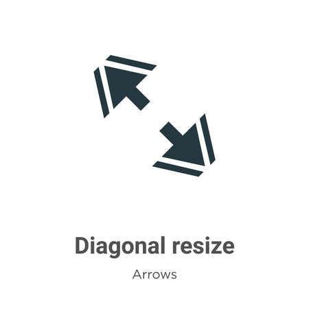 Diagonal resize vector icon on white background. Flat vector diagonal resize icon symbol sign from modern arrows collection for mobile concept and web apps design.