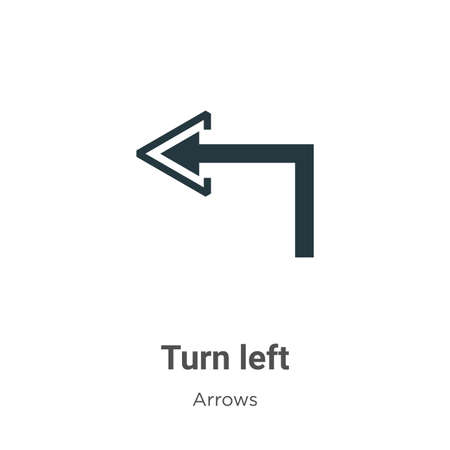 Turn left vector icon on white background. Flat vector turn left icon symbol sign from modern arrows collection for mobile concept and web apps design.