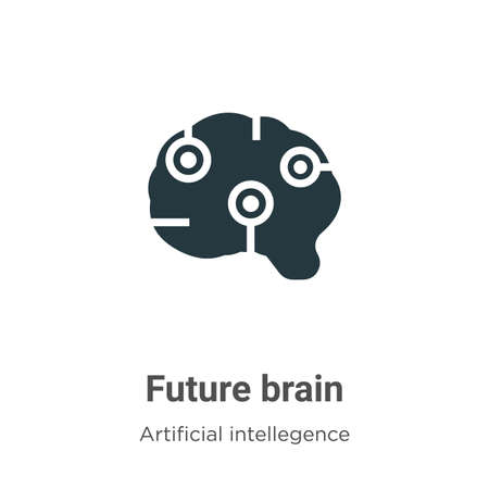 Future brain vector icon on white background. Flat vector future brain icon symbol sign from modern artificial intellegence and future technology collection for mobile concept and web apps design.