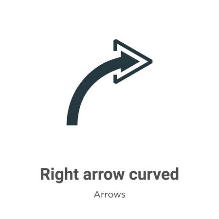 Right arrow curved vector icon on white background. Flat vector right arrow curved icon symbol sign from modern arrows collection for mobile concept and web apps design. Ilustração