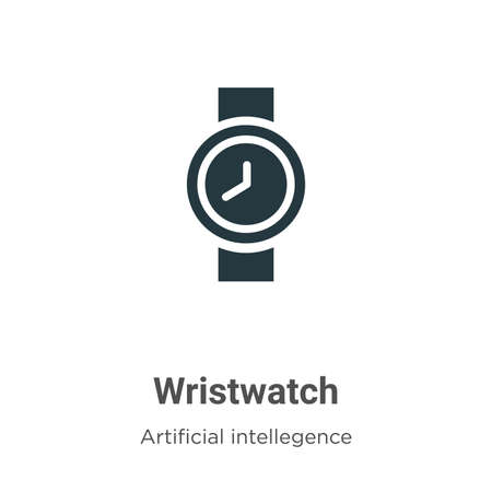 Wristwatch vector icon on white background. Flat vector wristwatch icon symbol sign from modern artificial intelligence collection for mobile concept and web apps design.