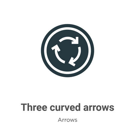 Three curved arrows vector icon on white background. Flat vector three curved arrows icon symbol sign from modern arrows collection for mobile concept and web apps design. Ilustração