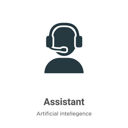 Assistant vector icon on white background. Flat vector assistant icon symbol sign from modern artificial intelligence collection for mobile concept and web apps design. Ilustração