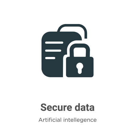 Secure data vector icon on white background. Flat vector secure data icon symbol sign from modern artificial intelligence collection for mobile concept and web apps design.