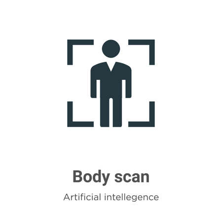 Body scan vector icon on white background. Flat vector body scan icon symbol sign from modern artificial intellegence and future technology collection for mobile concept and web apps design.