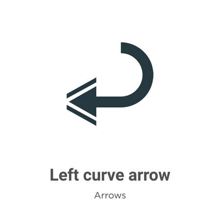 Left curve arrow vector icon on white background. Flat vector left curve arrow icon symbol sign from modern arrows collection for mobile concept and web apps design.