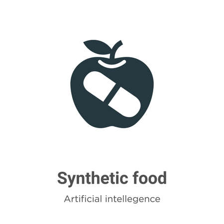 Synthetic food vector icon on white background. Flat vector synthetic food icon symbol sign from modern artificial intellegence and future technology collection for mobile concept and web apps design.