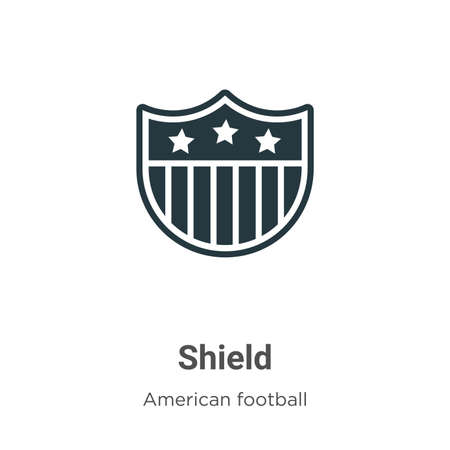 Shield vector icon on white background. Flat vector shield icon symbol sign from modern american football collection for mobile concept and web apps design.