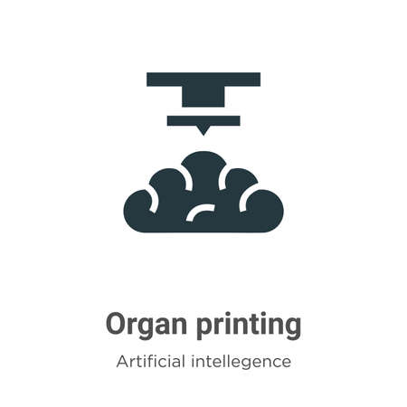 Organ printing vector icon on white background. Flat vector organ printing icon symbol sign from modern artificial intellegence and future technology collection for mobile concept and web apps design. Ilustração