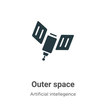 Outer space vector icon on white background. Flat vector outer space icon symbol sign from modern artificial intellegence and future technology collection for mobile concept and web apps design.