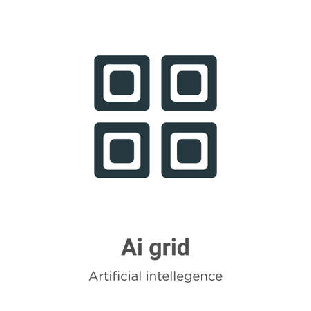 Ai grid vector icon on white background. Flat vector ai grid icon symbol sign from modern artificial intellegence and future technology collection for mobile concept and web apps design.