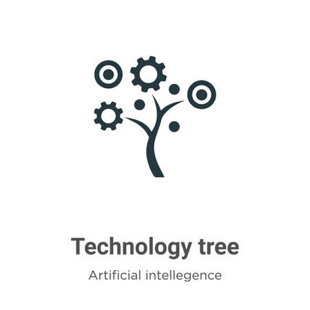 Technology tree vector icon on white background. Flat vector technology tree icon symbol sign from modern artificial intellegence and future technology collection for mobile concept and web apps